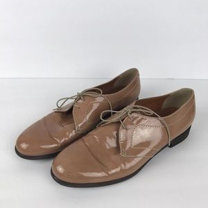 Madewell 1937 Patent Leather Nude Oxfords Sz 9